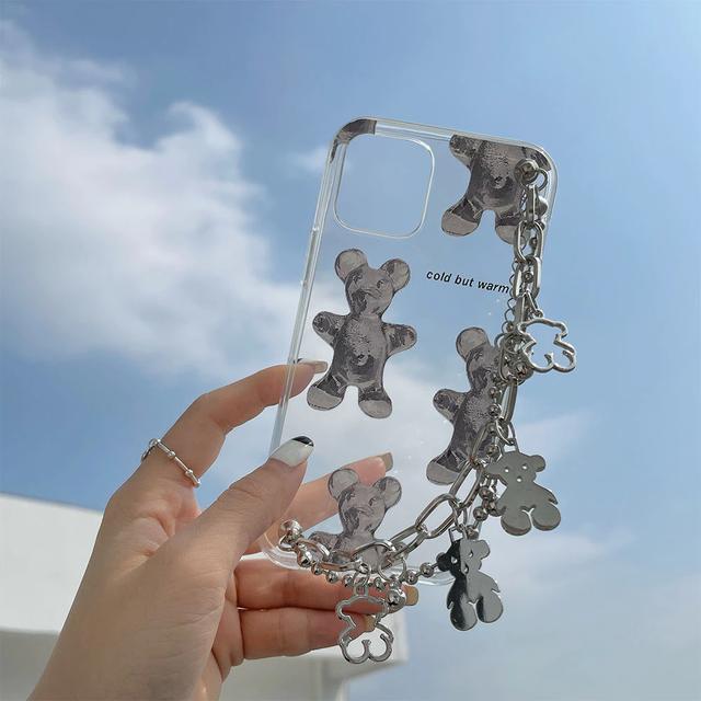 Cute ice bear chain iphone case