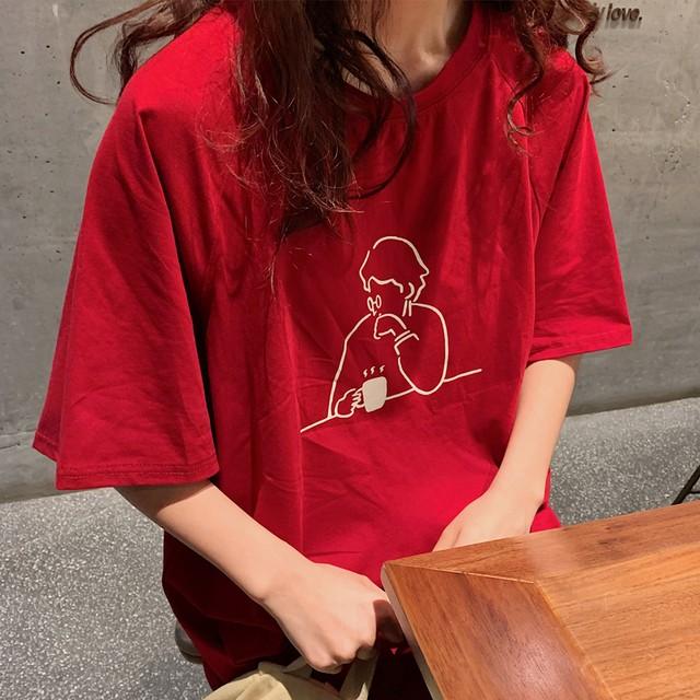 【tops】プリントプルオーバーラウンドネックカジュアル半袖Tシャツ
