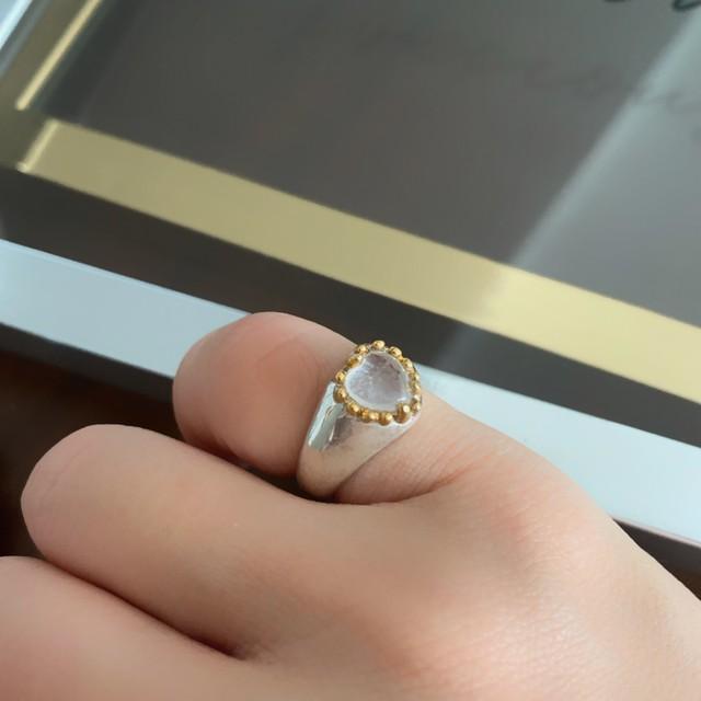 """ハイアライトオパール  """"heart"""" pinky ring"""