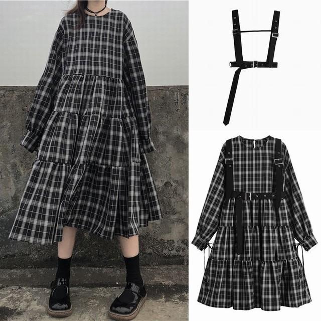 チェック柄 ワンピース サスペンダーストラップ付き リボンスリーブ 韓国ファッション レディース ラウンドネック ハイウエスト 長袖 ガーリー / Suspenders skirt thin plaid niche loose dress (DTC-606540081695)