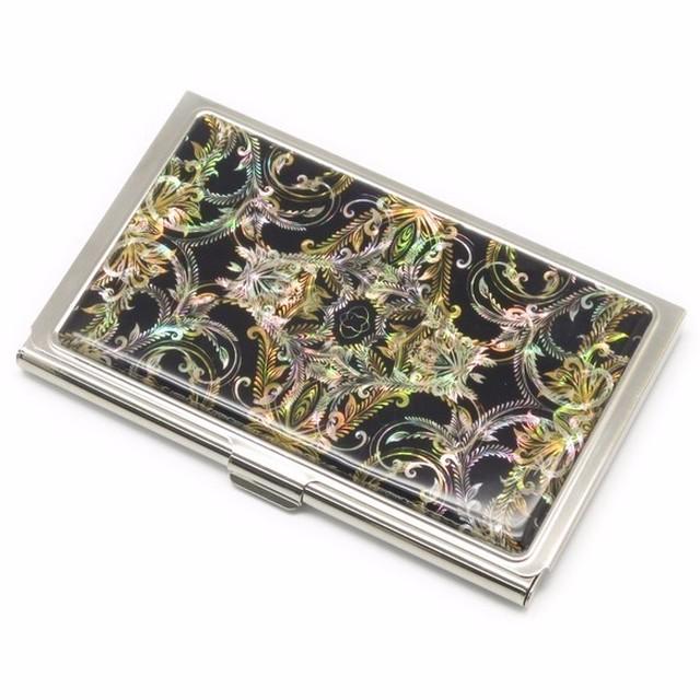 天然貝 名刺カードケース(フェザーアート)<螺鈿アート>