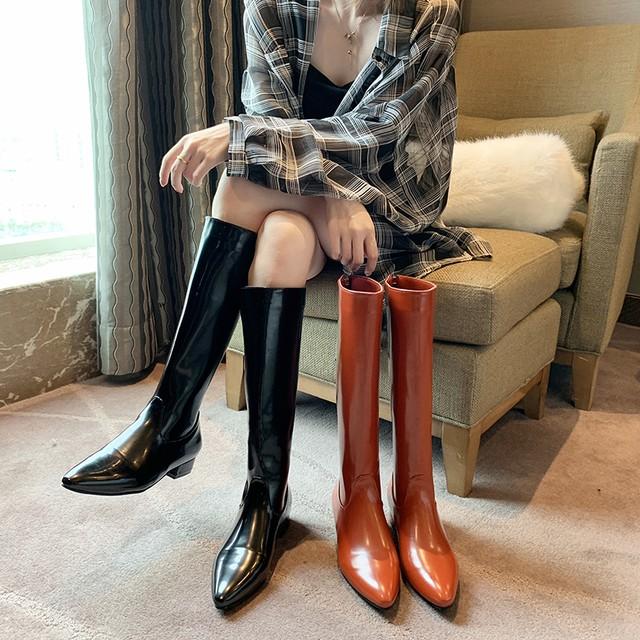 【シューズ】絶対流行ファッションブロックヒールジッパー暖かいポインテッドトゥロング丈ブーツ35831577