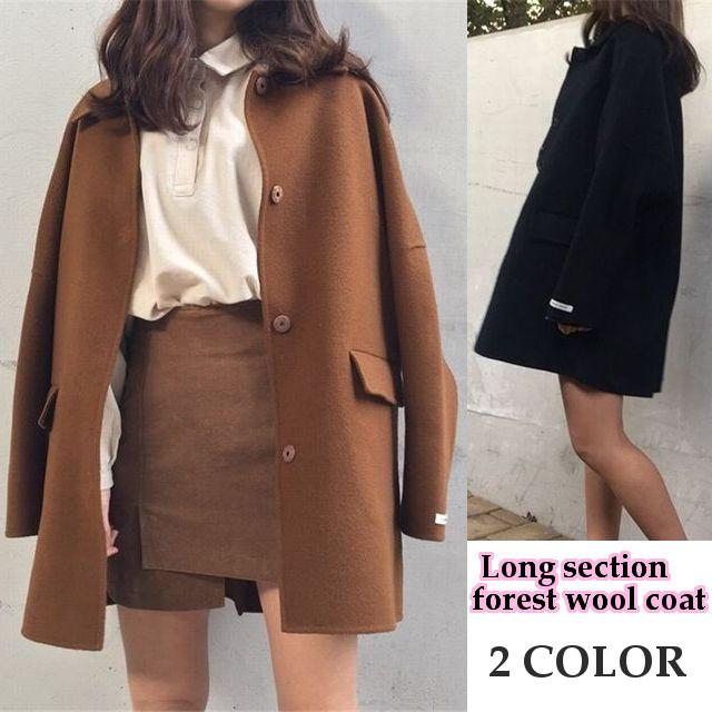 【フィオナ】長袖ミディアム丈ウールコート / Long section forest wool coat (DCT-579329211765)