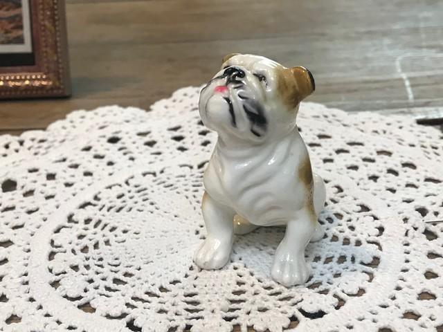 JAPAN 1960年代 陶器 人形 犬 ブルドッグ