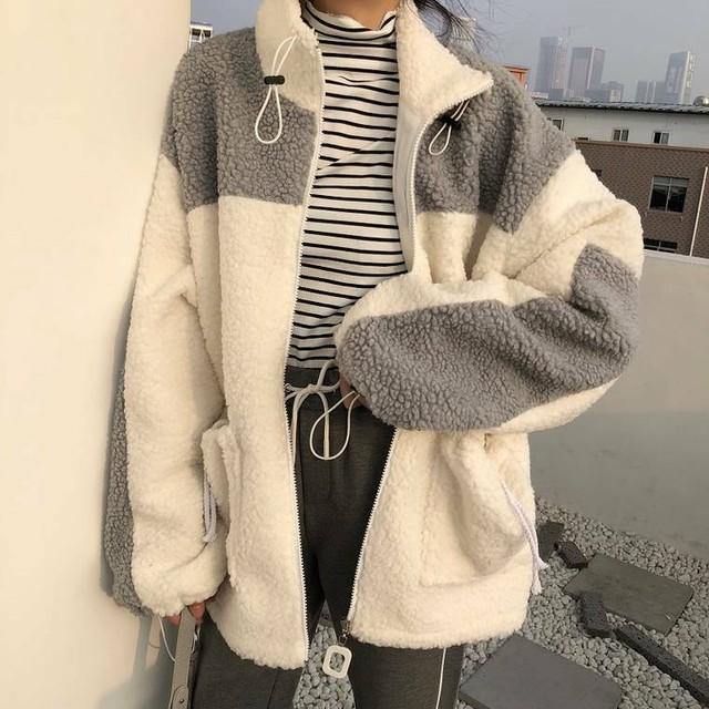 【送料無料】 この冬大活躍アイテム♡ バイカラー ボア ジャケット スタンドカラー ファー コート アウター