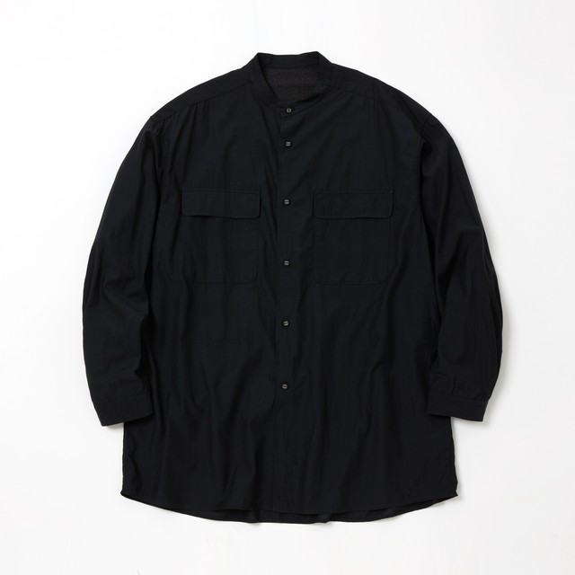 BROAD BAND COLLAR LONG SLEEVES SHIRT -BLACK