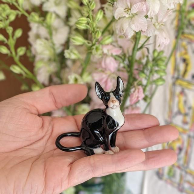 【ミニチュア陶器】Sphynx cat~Black&White~