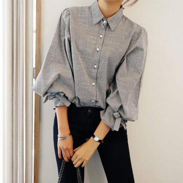 Spring 2017 大人カジュアル モノトーン 襟付き 袖元シフォン ルーズタイプ シャツ 韓国