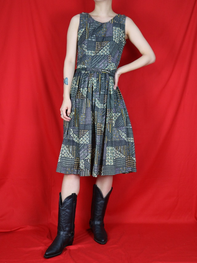 50s sleeveless all pattern dress【0405】