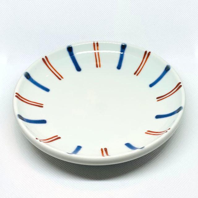 【砥部焼/梅山窯】4.6寸丸皿・切立(呉須赤線)