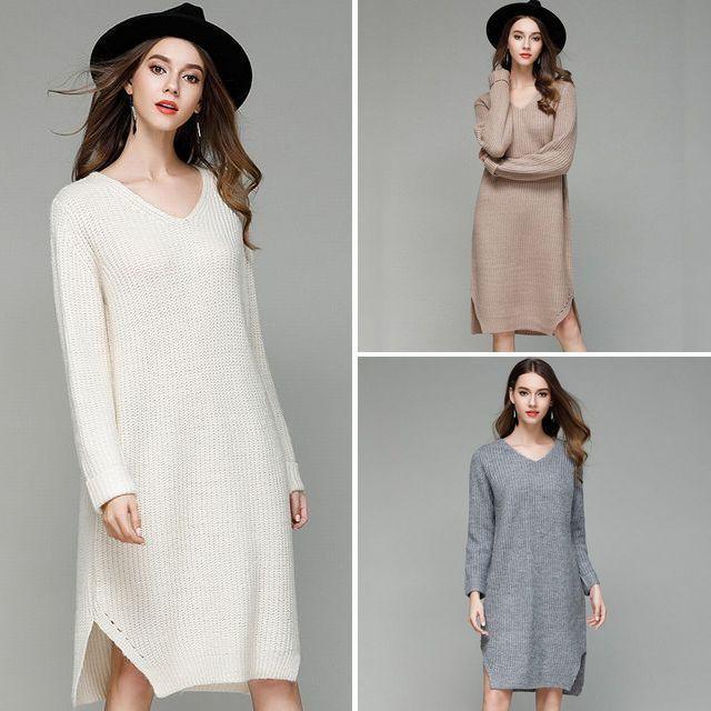 クラシックVネック ソリッドカラー ロングニットワンピース / Classic V Neck Solid Color Long Length Sweater Dress (DCT-580096481185)