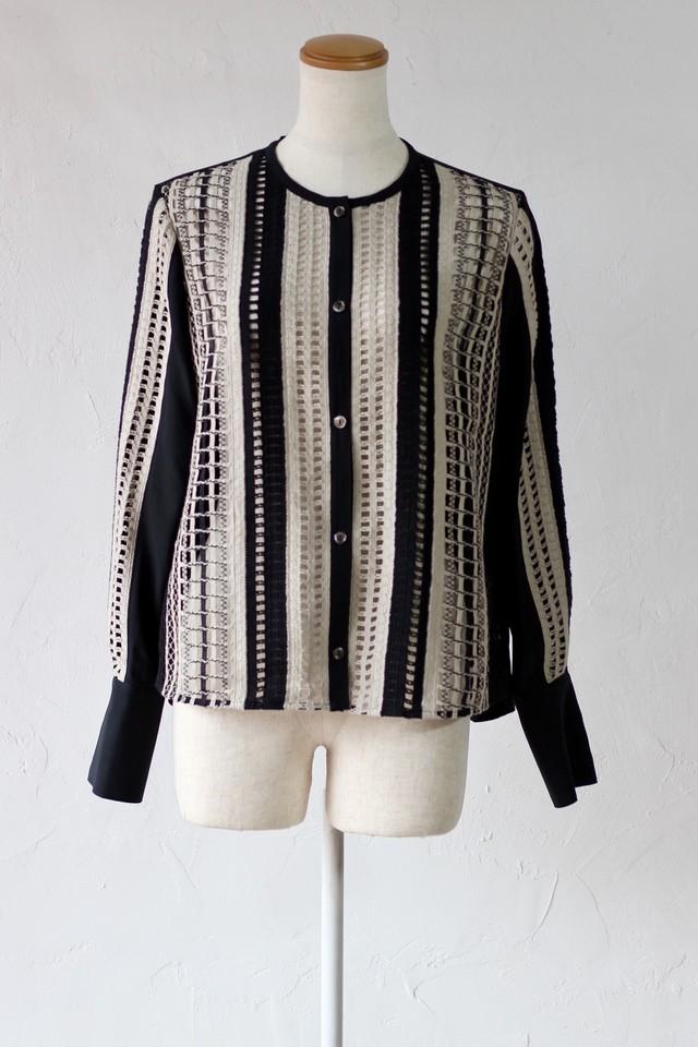 【EBONY】mix lace cardigan-beige