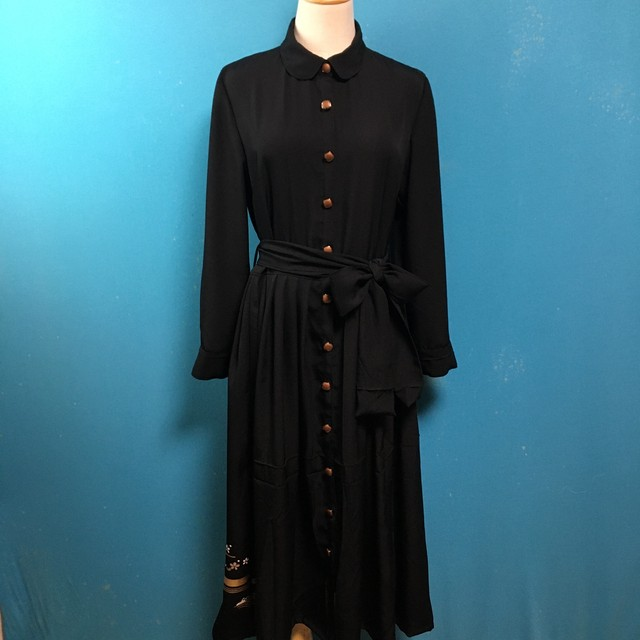 Vintage black kimono dress/ US 8/ round collar