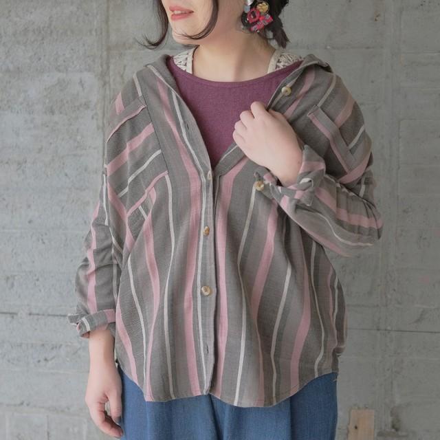 草木染めコットンオーバーシャツ(20w-012)グレー
