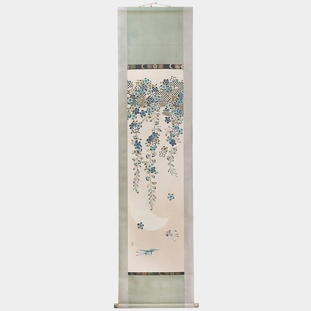 枝垂桜に鳥 半月 (掛け軸)