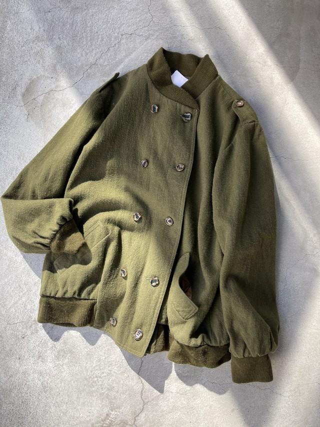 vintage reversible wool jacket - khaki -