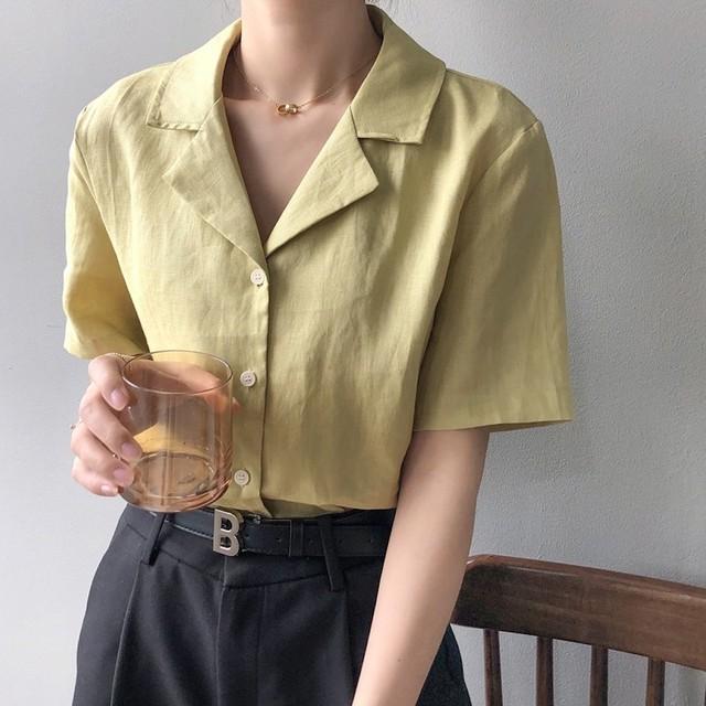 フレンチシックリネン開襟シャツ3colors