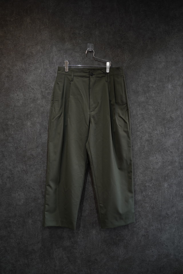 VOAAOV WASHABLE WOOL WIDE PANTS green