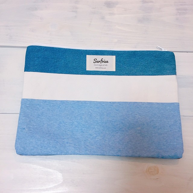 Denim clutch bag R35(Light Blue)