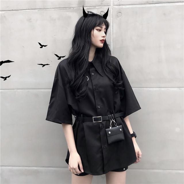 【トップス】大人気ストリート系無地バッグベルト付き五分袖シャツ20471701