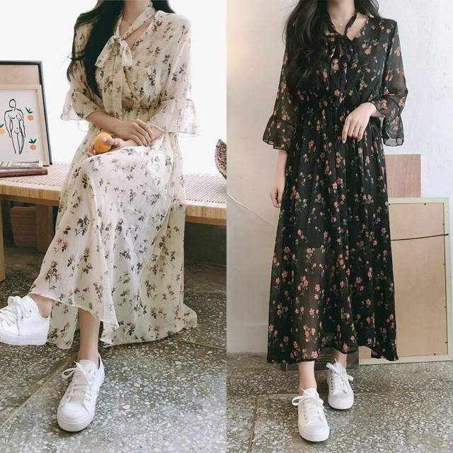レディース 花柄レースワンピース ボウタイ リボン ガーリー ウエストゴム フェミニン 韓国ファッション オルチャン / Sweet Little Flower Chiffon Long Dress (DCT-591782460782)