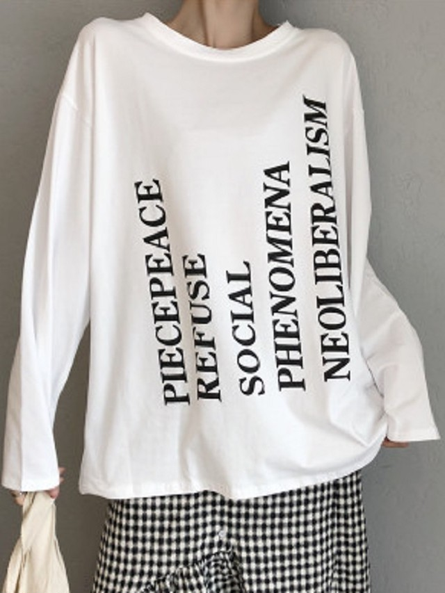 【tops】Loose white new long sleeve T-shirt