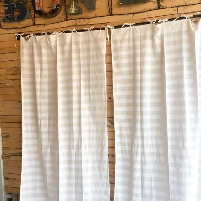 TOPANGA Homefurnishing  コットンシーチング ホワイトオンホワイトボーダーカーテン W110×H240cm