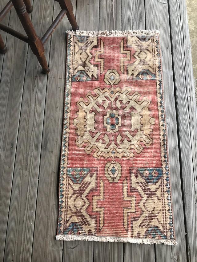 ビンテージ トルコ 絨毯 ミニラグ 玄関マット E