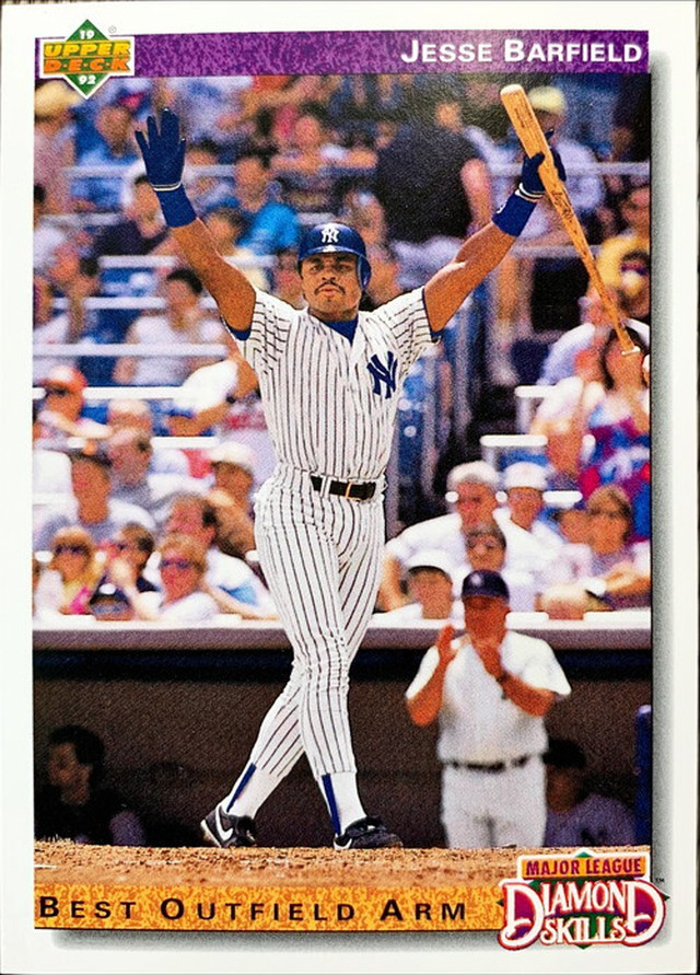 MLBカード 92UPPERDECK Jesse Barfield #644 YANKEES DIAMOND SKILLS