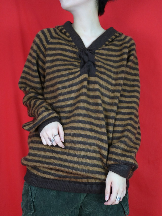 lace up border hoodie  knit【0525】