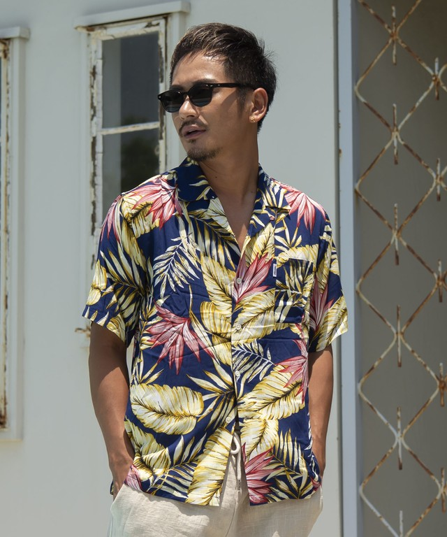 BOTANICAL COLOR ALOHA SHIRTS[RES031]