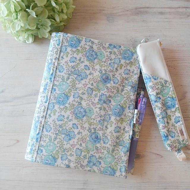 【完成品】ピーコックス ライトブルー*リバティ手帳カバー・ぺンケースセット*ナカバヤシサイズ