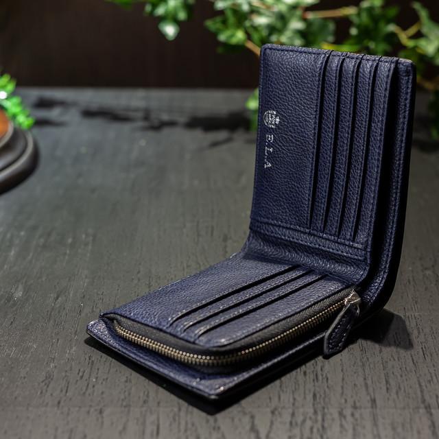 ELA-9061 二つ折り財布 Lファスナー札入れ ネイビーのみ