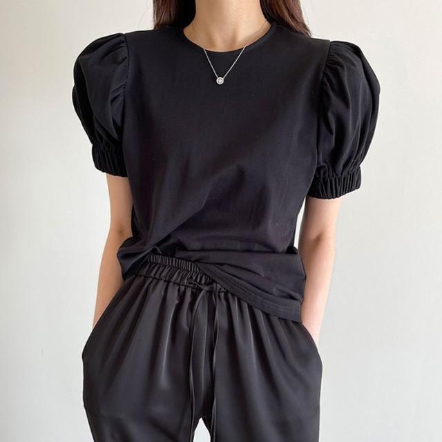 パフスリーブTシャツ 半袖 ラウンドネック プルオーバー トップス 無地 ブラック ホワイト シンプル かわいい 着回し TP3584