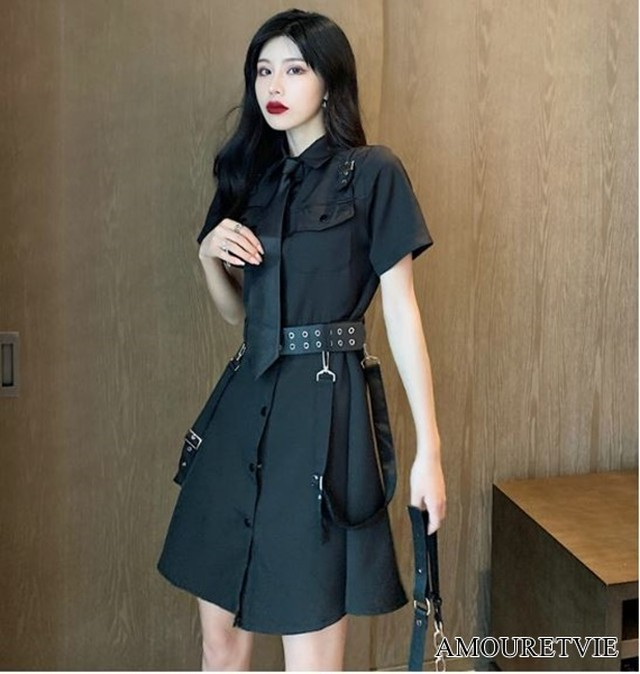ロングシャツ チュニック ベルト付き ネクタイ付き シック モダン 黒 ブラック スタイリッシュ ピープス オルチャン 韓国ファッション 1517