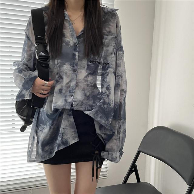 【トップス】レトロ長袖シングルブレストPOLOネックシャツ47308371