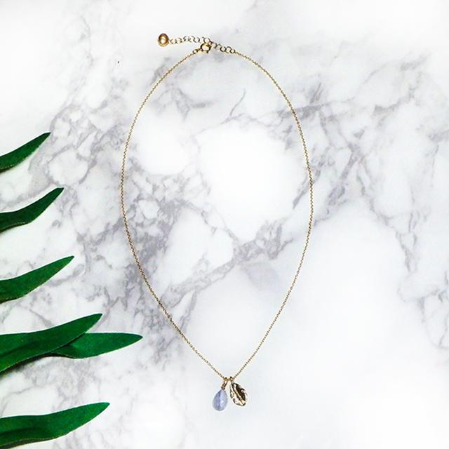 Blue lace agate × Leaf Charm Necklace