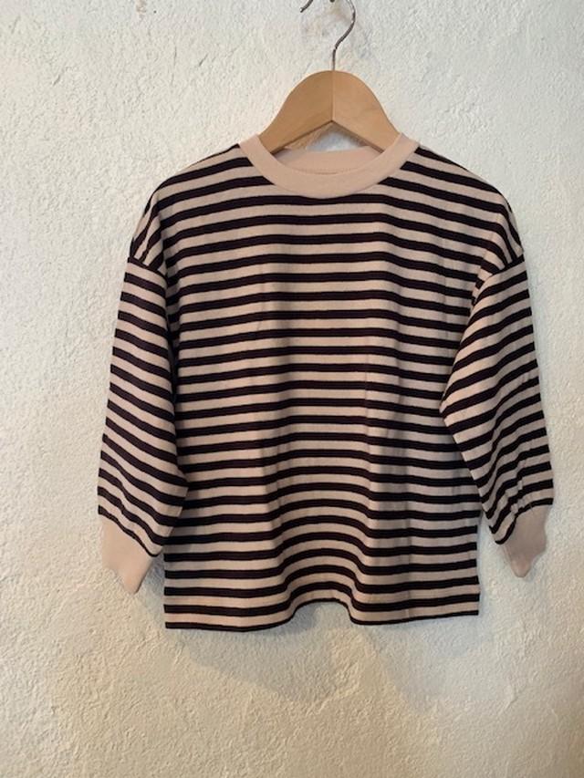 ocean&ground:ボーダーリブ付きルーズTシャツ 80-140㎝