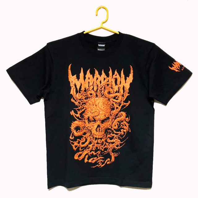 SKULL TENTACLE T-shirts (Black×Orange)