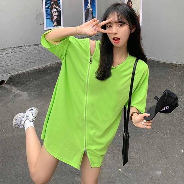【トップス】韓国系半袖ラウンドネックプルオーバーTシャツ48948751
