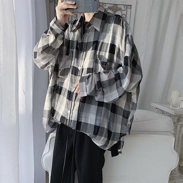 ユニセックス オーバーサイズ シャツ チェック 長袖 薄手 BF