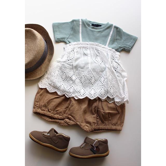 【Little s.t. by s.t.closet】A21500-12 キャミソール風ドッキングTシャツ 80-140㎝