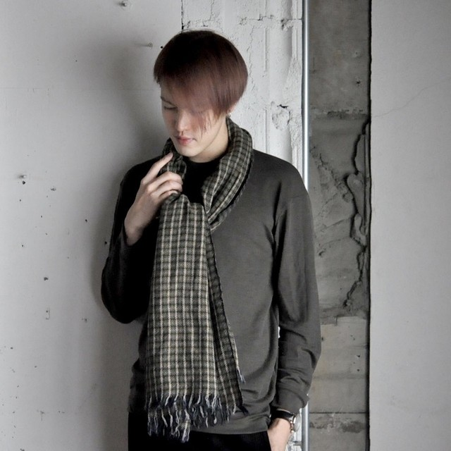 INDKRAFT stole - Green × Yellow Check -