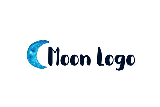 ロゴマーク|水彩イラストの月が目を引くペイント風ロゴデザイン