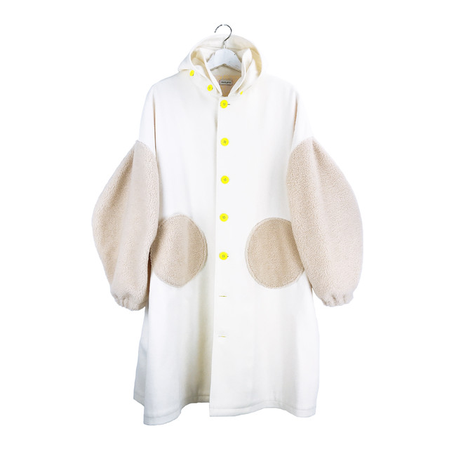 REMOVABLE FOODED MIX MELTON COAT / M - L