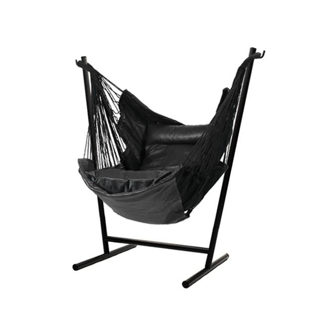 Komforta 自立式 ハンモック レザー ステンレス黒塗装