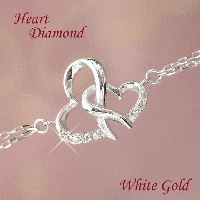 ダイヤモンド ブレスレット オープンハート ホワイトゴールド 10金