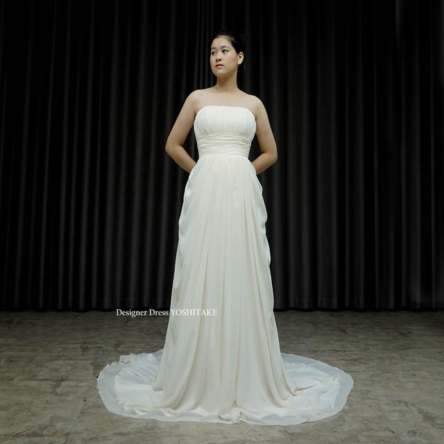 アイボリースレンダードレス.シフォン生地.挙式ドレス.前撮り.フォトウエディング  在庫店舗・・アトリエ●