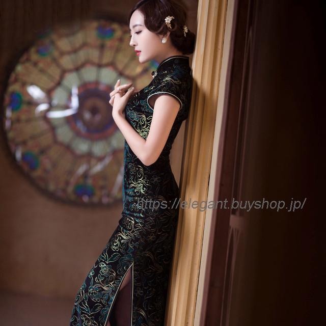 ロングチャイナドレス ベルベット ロングドレス チャイナ風服 中華服 パーティー 撮影 二次会 エレガント 大きいサイズ S M L LL 3L 4L グリーン 緑
