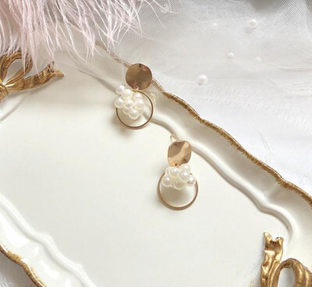 サークル ホワイトパール ゴールド ファッション スタッド ピアス